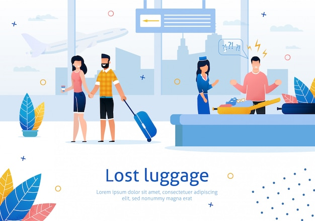 Lost or damaged luggage in airport   banner