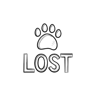 Потерянная собака рисованной наброски каракули значок. потерянный знак с следом собаки как концепция спасения пропавших без вести домашних животных. векторная иллюстрация эскиз для печати, интернета, мобильных устройств и инфографики на белом фоне.
