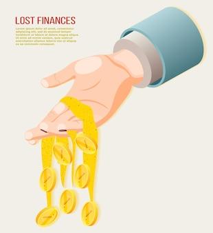 コインが人間の手から落ちると失われた財政の等尺性の概念