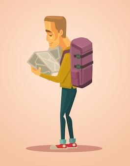 Потерянный турист человек персонаж смотрит на карту иллюстрации шаржа