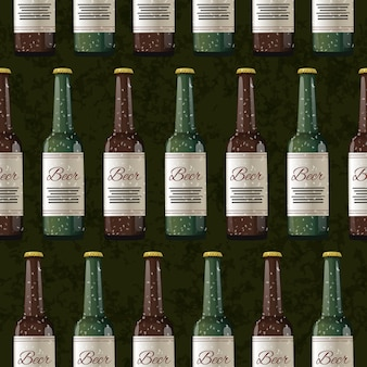 A lot of bottles of light and dark beer on dark green, seamless pattern