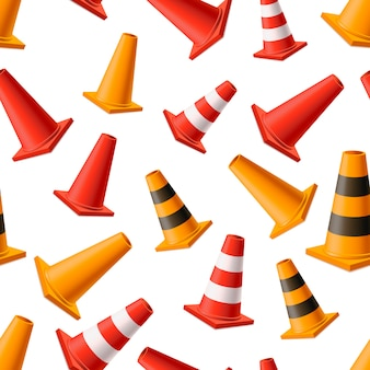 Lot of bright yellow and red road cones, seamless pattern on white