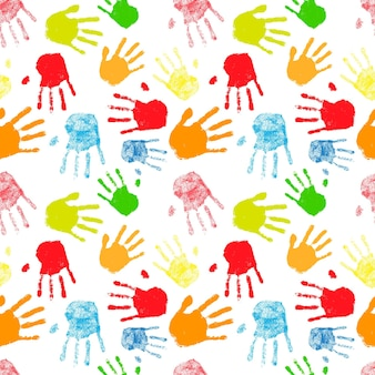 A lot of colorful silhouettes of human palm prints, seamless pattern on white