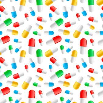 A lot of colourful pills capsules on white seamless pattern