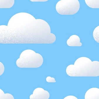 Lot of cute clouds with texture in blue sky, cartoon seamless pattern