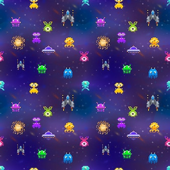 A lot of cute space invaders in pixel art style on deep space background seamless pattern