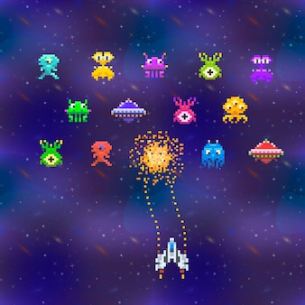 A lot of cute space invaders in pixel art style on deep space background vintage gamescreen