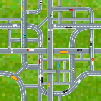 A lot of different road junctions on grass background with cars, top view seamless pattern