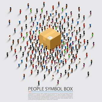 Lot of people near the parcel. vector illustration