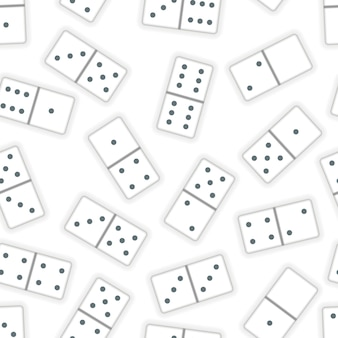 A lot of realistic white dominoes pieces on white, seamless pattern