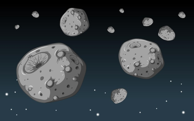 A lot of stone meteorite in the galaxy background