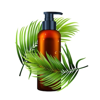 Lotion bottle with pump and tree branch vector