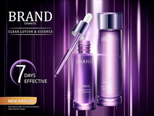 Lotion and essence ads, cosmetic containers set in purple with light rays in  illustration