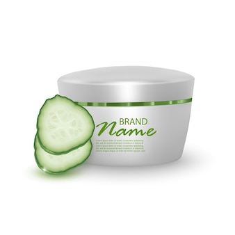 Lotion with cucumber extract illustration for cosmetics product.