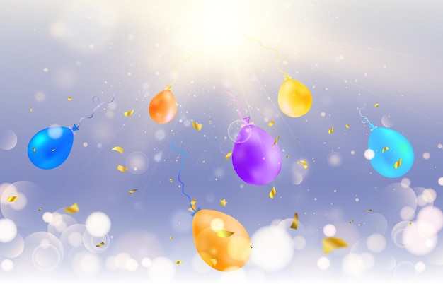 Lots of colorful confetti and balloons festive event and party