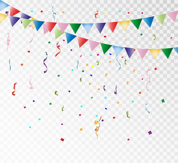 Lots of colorful confetti and ribbons on a transparent background. festive event and party. multicolor background. colorful bright confetti isolated on transparent background