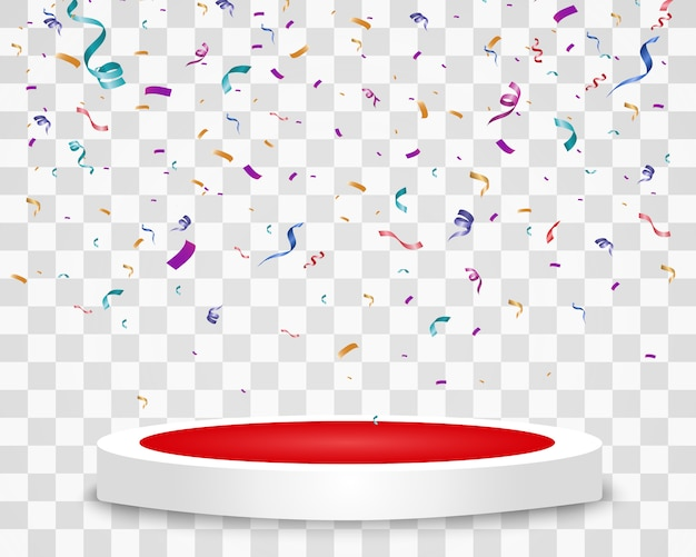 Lots of colorful tiny confetti and ribbons on transparent background. colorful bright confetti isolated on the podium.