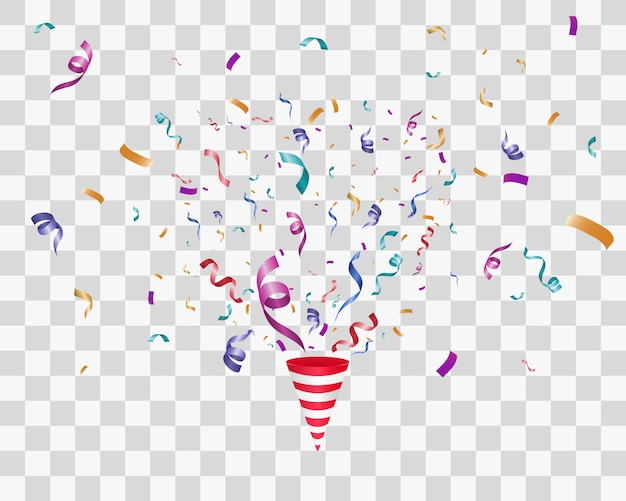 Lots of colorful tiny confetti and ribbons on transparent background. colorful bright confetti isolated on transparent background