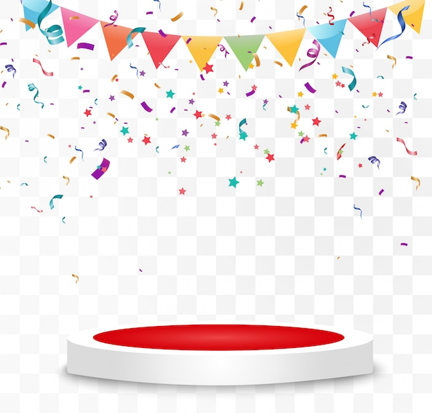 Lots of colorful tiny confetti and ribbons on transparent background. festive event and party. multicolor background. colorful bright confetti isolated on the podium.