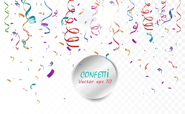 Lots of colorful tiny confetti and ribbons on transparent background. festive event and party. multicolor background.colorful bright confetti isolated on transparent background