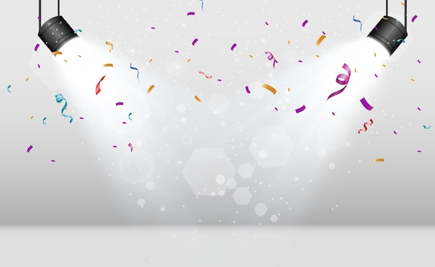 Lots of colorful tiny confetti and ribbons on transparent background festive event and party multicolor background