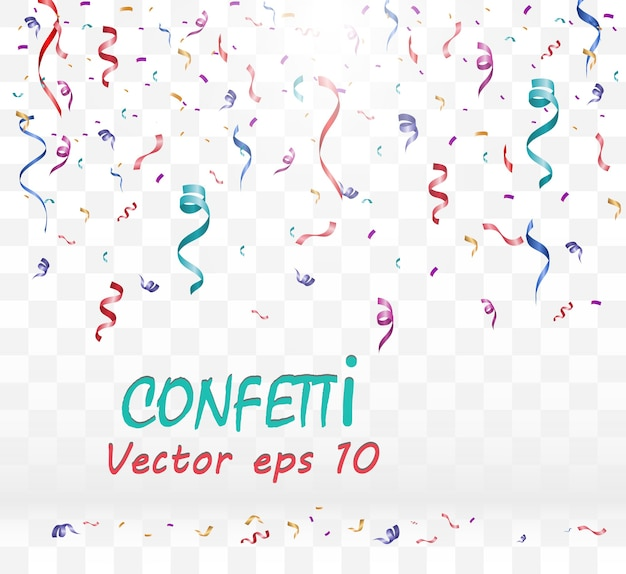 Lots of colorful tiny confetti and ribbons on transparent background. festive event and party.