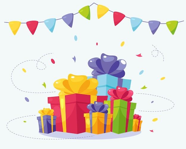 誕生日ギフトボックスがたくさん。休日の贈り物。お祝いの装飾。