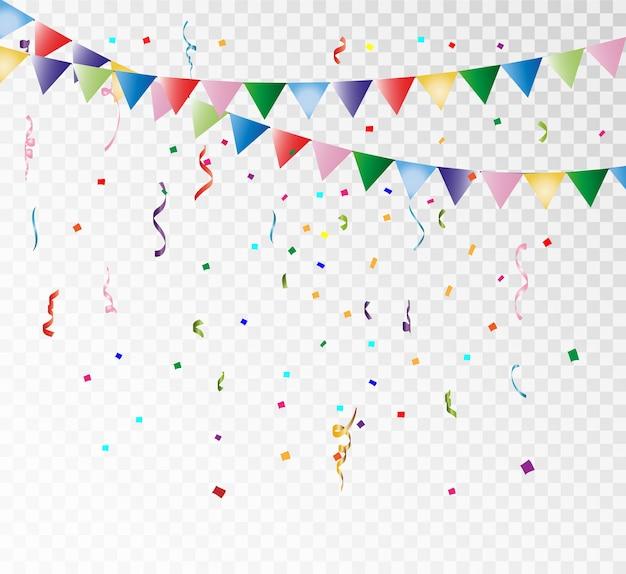 カラフルな紙吹雪と透明な背景にリボンがたくさん。お祝いイベントとパーティー。多色の背景。透明な背景に分離されたカラフルな明るい紙吹雪