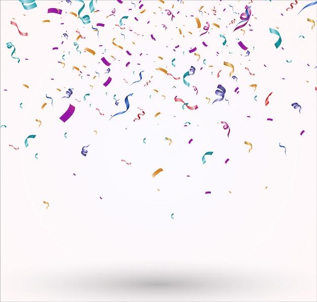Множество разноцветных крошечных конфетти и лент. праздничное мероприятие и вечеринка.