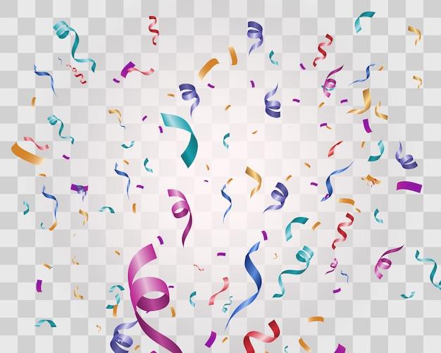 カラフルな小さな紙吹雪と透明な背景にリボンがたくさん。お祝いイベントとパーティー。多色の背景。透明な背景に分離されたカラフルな明るい紙吹雪