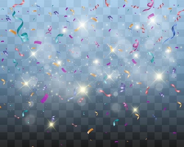투명 한 배경에 화려한 작은 색종이와 리본을 많이. 축제 이벤트와 파티. 투명 한 배경에 고립 된 여러 가지 빛깔의 배경입니다.