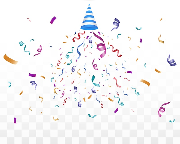 Много красочных крошечные конфетти и ленты на прозрачном фоне. праздничное мероприятие и вечеринка. многоцветный фон. цветные яркие конфетти на прозрачном фоне.