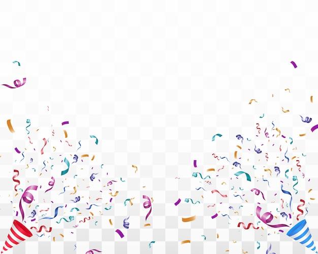 화려한 작은 색종이와 투명 한 배경에 리본을 많이. 축제 이벤트 및 파티. 다 색 배경입니다. 투명 한 배경에 화려한 밝은 색종이