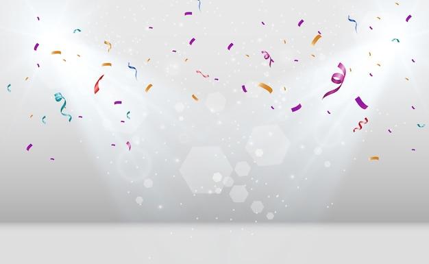 많은 다채로운 작은 색종이와 투명 배경에 리본 축제 이벤트 및 파티 여러 가지 빛깔의 배경
