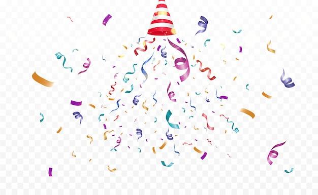 Много красочных крошечных конфетти и лент на прозрачном фоне. праздничный многоцветный фон. красочные яркие конфетти, изолированные на прозрачном фоне