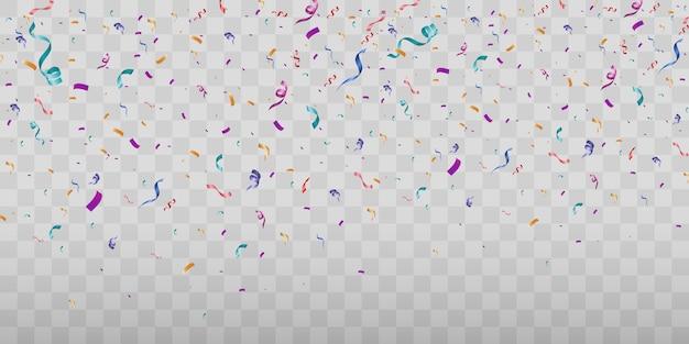 たくさんのカラフルな小さな紙吹雪と透明のリボン
