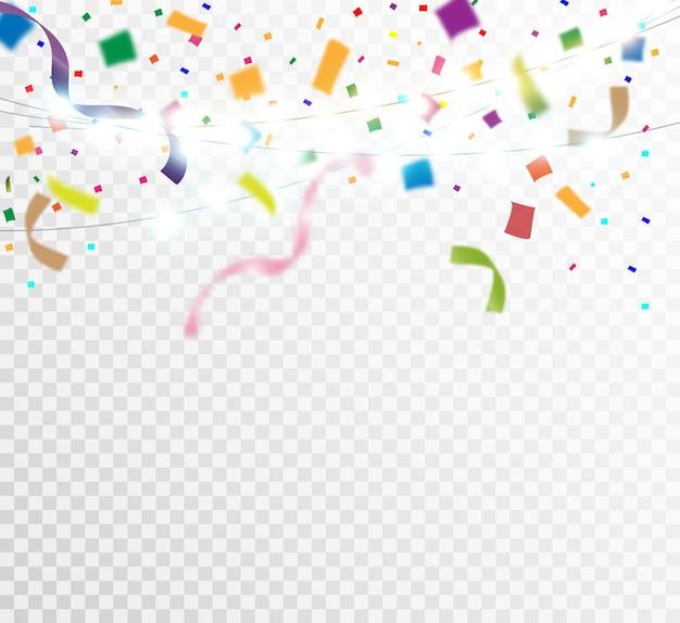 カラフルな小さな紙吹雪とリボンが透明にたくさん。