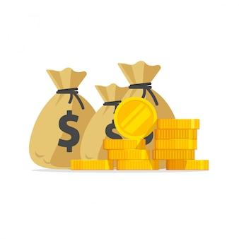Много денег или стопка золотых монет и наличные в сумках, изолированных плоский мультфильм