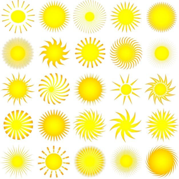 Множество различных значков солнца