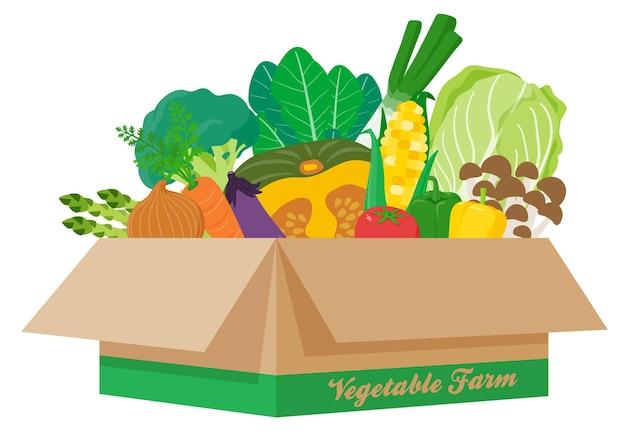 Много овощей в картоне. искусство, которое легко редактировать.