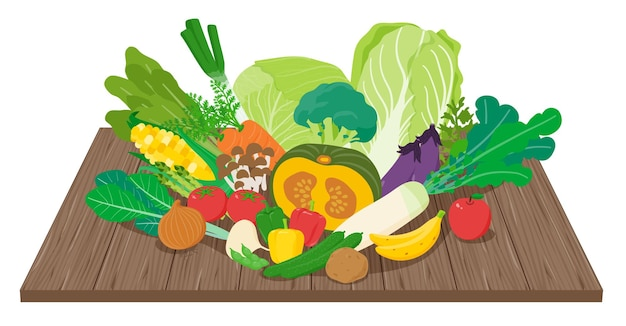 Lots of vegetables on the board. art that is easy to edit.