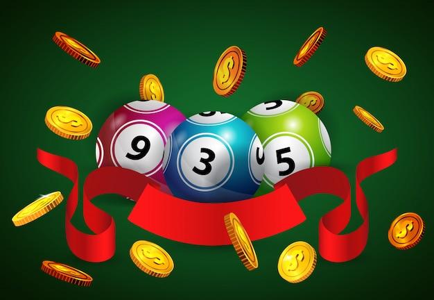 복권 공, 비행 황금 동전과 빨간 리본. 도박 사업 광고