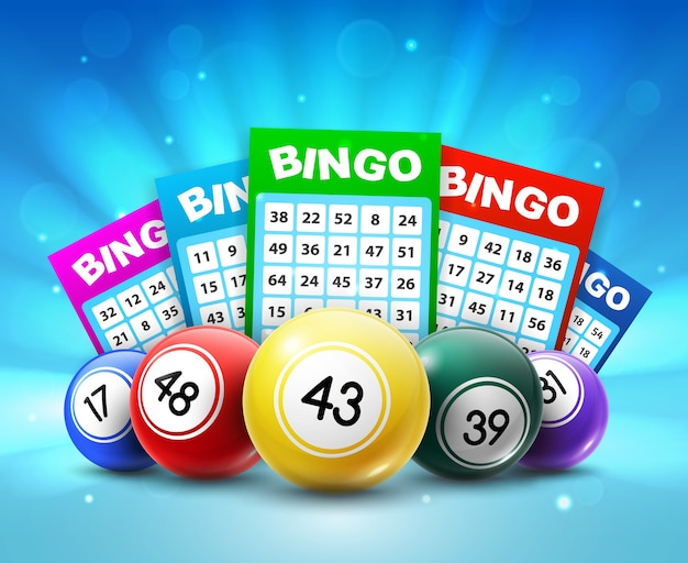 Lottery balls and tickets, 3d bingo lotto cards with numbers