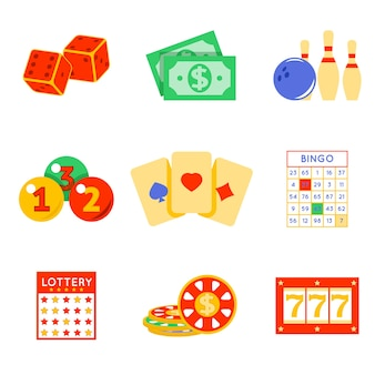 Lottery elements set. risk and card, luck and game