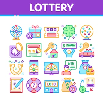 Lottery gambling game collection icons set