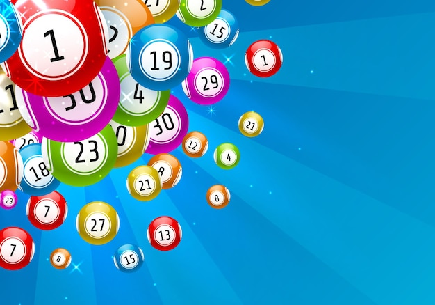 Lottery game, balls with numbers, on a colored background