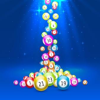 宝くじゲーム、数字の付いたボール、色付きの背景。ベクトルの図