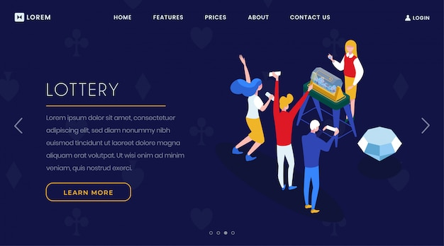 Lottery game landing page isometric template