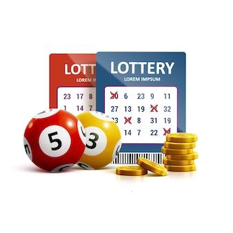 Реалистичные объекты иконки лотереи eps 10
