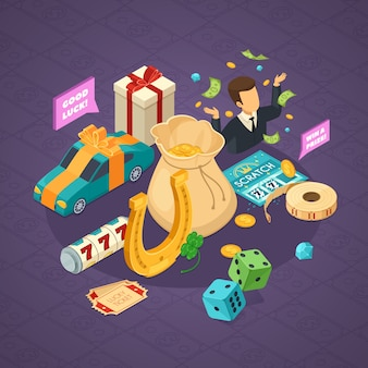 Lottery isometric concept with luck symbols on violet